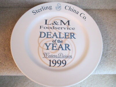 Sterling China Co. L & M Food Service Dealer of the Year 1999 Dinner Plate