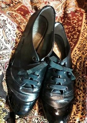 71/2 Steam Punk, Victorian style leather/patent toe shoes,larp