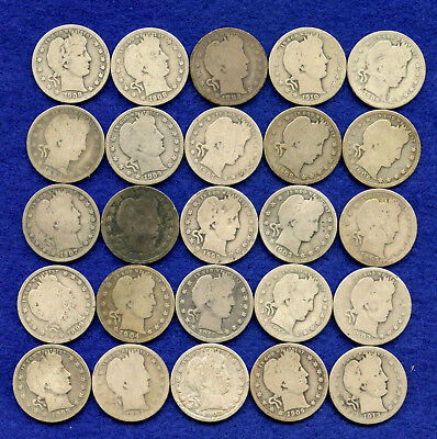 US Barber Silver Quarters - Lot of 25!