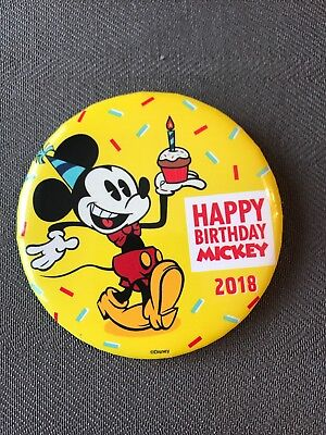 Mickey Mouse 90th Birthday Button Pin Disney Parks Exclusive 2018
