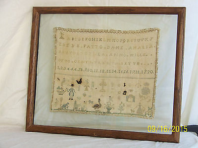Antique Italian Sampler c1837 Hand Done-Letters-#'s-Figures