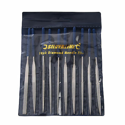 Silverline Diamond Needle Files Set 10 Piece Craft Hobby Modelling Miniatures