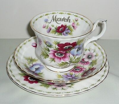 Royal Albert Flower of the Month 'March' Trio  ~ Full Size ~Anemones
