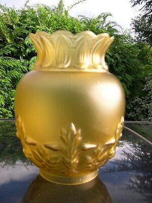 Tall Olive Satin Glass  Shade For Kerosene Duplex Oil Lamp 4 Inch Base Fitter