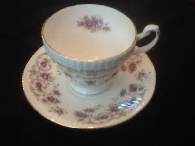 Royal Dover Fine Bone China Cup & Saucer Delicate Flowers Gold Trim Grandmother