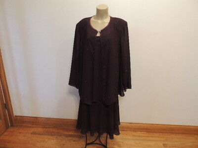 S.L. fashions size 20 W dk purple wine jacket & dress tea length mother of bride