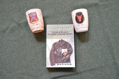 WW2 Souvenir Cups And Autographed Book, 34th division, 151st F.A.  B.N.