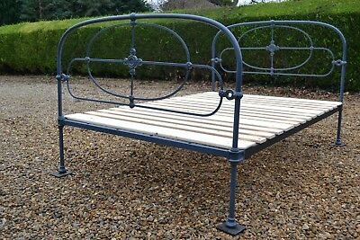 Original Antique Victorian 4ft 6in Double Iron Cottage Bedstead & pine bed base