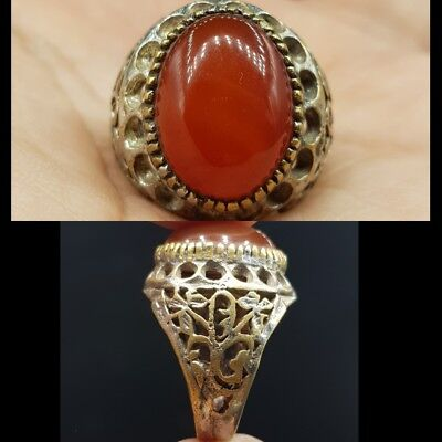 Old Medieval Agate Stone Wonderful Lovely Stunning Ring  # 8R