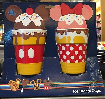 Disney Parks Mickey Minnie Mouse Snack Icon Ice Cream Cups Set of 2NEW