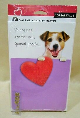 Multi pack (6) VALENTINE'S DAY GREETING CARDS- CUTE DOG & BIG GLITTER HEART-NEW