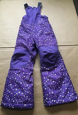Lands' End Girl's Purple Stars Snow Bib Pants Size: 4