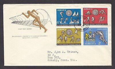 Jamaica 1962 Central American & Caribbean Games Complete Set Of 4 Stamps On Fdc