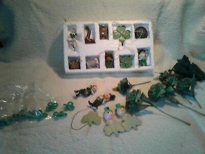 St Patrick's Day Luck Of The Irish 10 Miniature Tree Ornaments And Lepreachauns