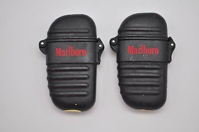 Vintage Marlboro Adventure Team Lighter Refillable Case Cover Light Butane x2 *