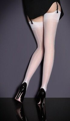 1528bb3548a Agent Provocateur stockings M fully fashioned seam heel NEW nylon WHITE xmas