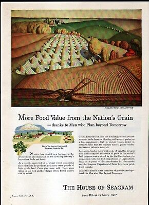 "1940's THE HOUSE of SEAGRAM AD -- ""FALL PLOWING"" by GRANT WOOD"