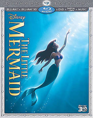 The Little Mermaid 3D Blu-ray/DVD, 2013, 3-Disc Set with slipcover official