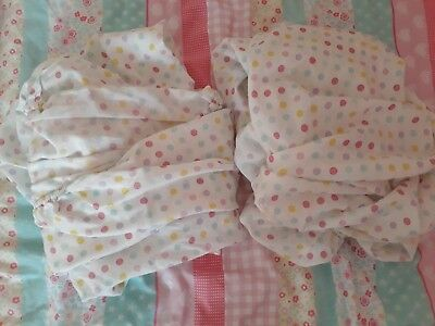 2x polka dot cot bed fitted sheets - BNWOT