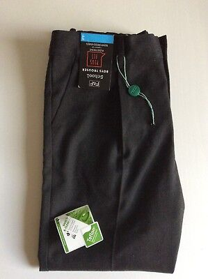 F&F Boys Pleated Front Plus Fit School Trousers 7-8 Years BNWT
