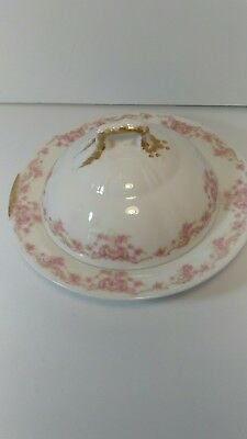 Antique Theodore Haviland Limoges Butter Dish RARE Pink Daisy Asters Pattern