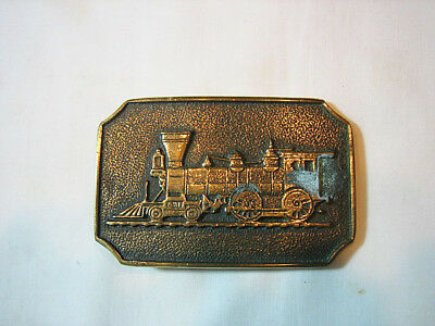Solid Brass BELT BUCKLE with old Steam Engine -- unused