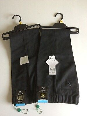 F&F Boys Flat Front Regular Fit School Trousers 7-8 Years BNWT 2 Pairs