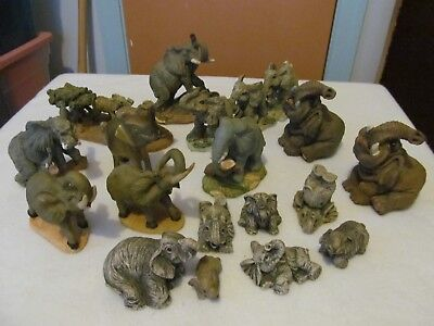 Set of 17 Elephant Figures including 1 Brass Elephant All with Raised Trunks