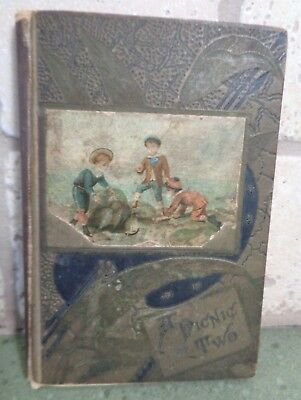 """Antique Book: 1880 A Picnic Of Two Decorative Cover HC Hardcover 6.25"""" Vintage"""