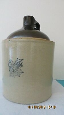 MAPLE LEAF - WESTERN STONEWARE CO. 1 Gallon Moonshine Whiskey Jug  1920-30's