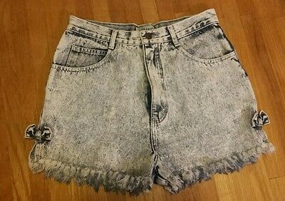 STEFANO High Waisted Denim Shorts Women's Size 12 Acid Washed  80's 90's