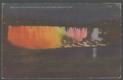 1952 Niagara falls American Fall Illuminated Canadian Side Linen Postcard 1410