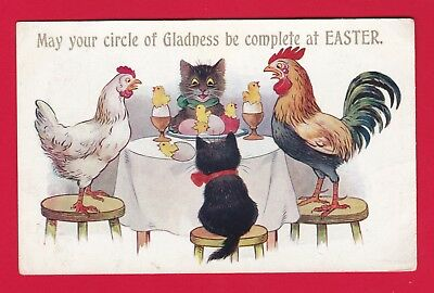 Carte Postale Old Postcard Cat CPA CHATS NOIRS COQ POULE black cats rooster hen