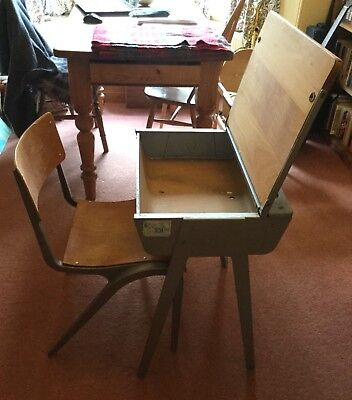 1960s wood and alloy school desk in good condition