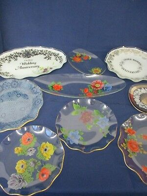 9 x Vintage Glass Celebration / Decorative Plates, Scalloped Edge, 15cm  to 36cm