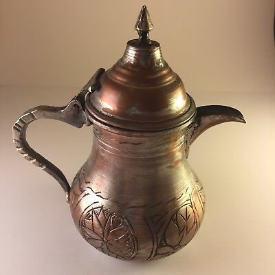 Vintage Antique Copper Islamic Bedouin Arabic Coffee Pot Middle Eastern Dallah