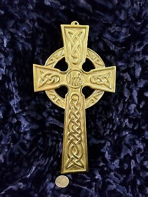 "SOLID BRASS CELTIC WALL CROSS LARGE 10.5""H x 6""W by Robert Emmet Co. NICE"
