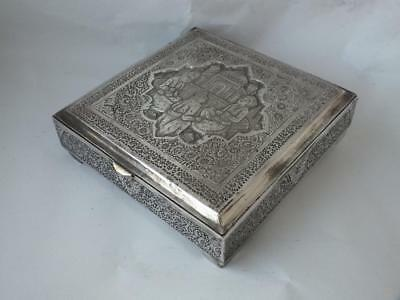 Quality Decorative Persian Solid Silver Box/ L 12 cm/ 466 g/ UNMARKED