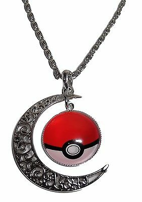 "Pokemon Crescent Moon Glass Dome Charm Necklace with 20"" Chain"