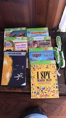 Leap Frog Tag Books And Reader Pens Lot Dora, Toy story, Disney Cars,Handy Manny