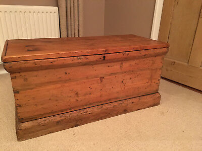 Large antique pine blanket box wooden chest