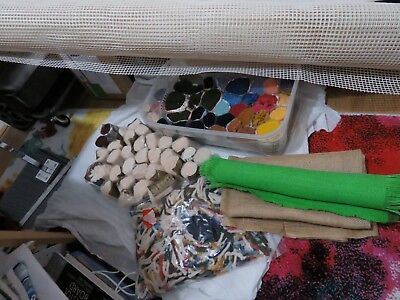 Latch hook rug making pre-cut 70 wool yarns & huge roll canvas 150x300cm job lot