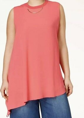 bd7a65047c Rachel Rachel Roy Curvy Plus Size Asymmetrical Sleeveless Top Womens 2X  Coral