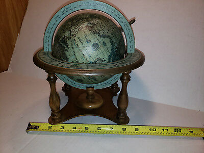 "Vintage Globe Japan Horoscope Olde World Globe 10"" Tall Spins On Stand Zodiac"
