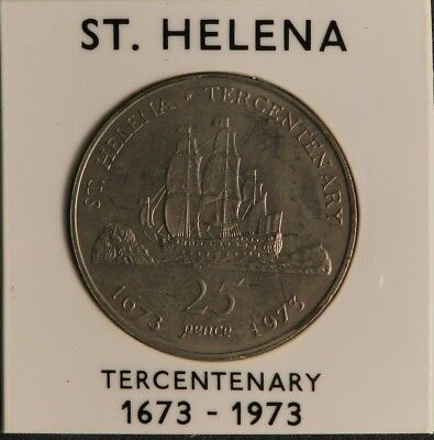 1973 St Helena 25 Pence Coin -Tercentenary Of Restoration Of British Rule