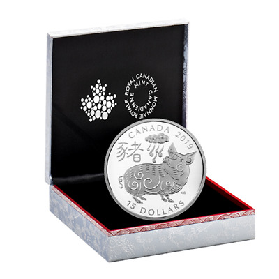 2019 Year of the Pig 1 oz. Pure Silver Coin Canada Mint w/ Certificate Box Case