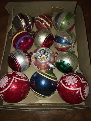 Vtg Lot 12 Christmas Ball Ornament Mercury Glass Frosted Indent SHINY BRITE #3