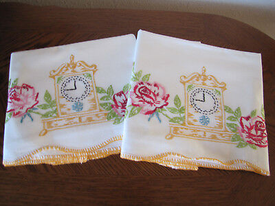 Vintage Pair of Pillowcases Embroidered Pink Roses & Clocks Rare & Exquisite Wow