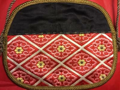 ANTIQUE LATE 19th/ EARLY 20th c CHINESE EMBROIDERED SILK PURSE POUCH EMBROIDERY!