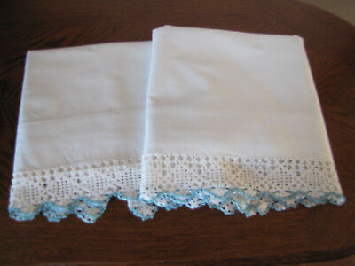 Vintage Pair Of Pillowcases White & Fancy Blue & White Crocheted Trim Work Wow